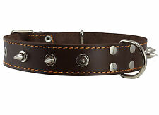 "Real Leather Brown Spiked Dog Collar Spikes, 1.25"" Wide. Fits 15.5""-20"" Neck"