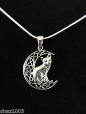 Genuine 925 Silver Pendant and Cord ~ Witches Cat Pentagram Moon by Lisa Parker