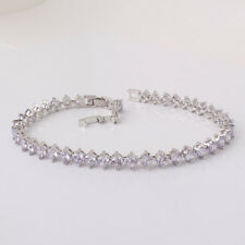 "Shining 18k white gold filled Swarovski Crystal Natural style bracelet 8.2""14.1g"
