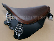 Brown Leather SOLO Seat Base Frame Cover Coil Spring Bracket For Harley Custom
