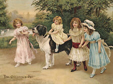 NEWFOUNDLAND AND LITTLE GIRLS LOVELY VICTORIAN IMAGE ON DOG GREETINGS NOTE CARD