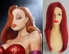 DELUXE JESSICA RABBIT LONG RED WAVY COSTUME WIG SIDE PARTING