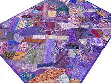 Dessus de lit ethnique Violet Patchwork Couvre-lit Tenture Fait main Inde M6