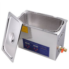 6L Digital Ultrasonic Bath Cleaner Stainless Steel Heater Cleaning Tank w/Timer