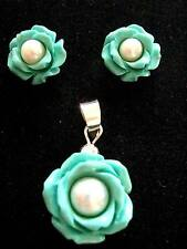 Sterling Silver Turquoise Pearl Rose Flower Pendant and stud earrings set
