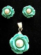 Sterling Silver Turquoise Pearl Rose Flower Pendant with matching stud earrings
