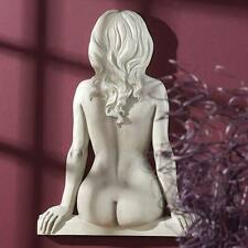 Nude Woman Torso Sitting Out on Ledge Wall Frieze Sculpture Female Form