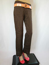 ZARA Womens Brown Linen Striped Casual Light Trousers Pants sz US4  EU36 AQ34