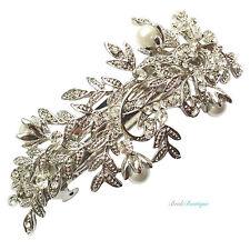 Boda nupcial Vintage Hoja de Vid Cristal Perla Plata Pasador Cabello Clip Cl06