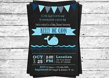 Little Squirt Whale Boy Printed Chalkboard Personalized Baby Shower Invitation