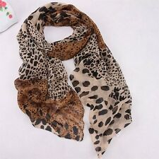 ladies women fashion brown animal leopard print scarf shawl Small UK