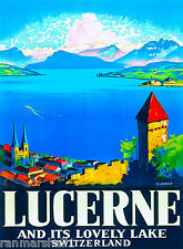 Lucerne Switzerland Europe European Vintage Travel Advertisement Art Poster
