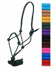 DRAFT HORSE SIZE Nylon Adjustable RED Rope Halter & 8 Foot Lead New Horse Tack