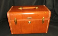 Samsonite Hardside Train Case Brown Carry-On Luggage Cosmetics Suitcase VINTAGE!