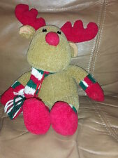 """Christmas Moose Brown New K Mart Red Nose Antlers Boots Gloves Scarf Plush 12"""""""