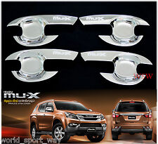 CHROME 4 DOOR HANDEL BOWL INSERT COVER FOR NEW ISUZU MU-X MUX SUV 2014 2015 2016