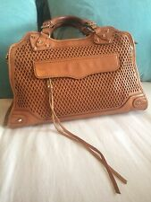 Rebecca Minkoff Desire Diamond Almond Tan Leather Satchel Handbag Bag $525
