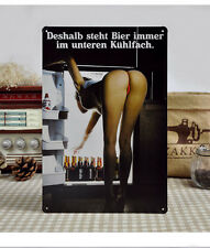 Vintage Tin Sign Wall Decor Retro Metal Bar Poster Sexy Lady Why Put Bottle Top