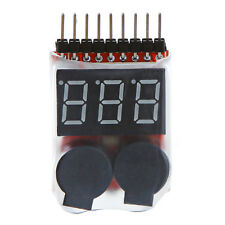 1S-8S Lipo Battery Tester Low Voltage Checker Indicator LED Buzzer Alarm RC New