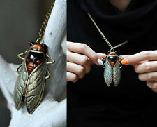 Creative Fashion Retro Vintage Bronze Tone Metal Insect Cicada Pendant Necklace