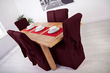 Set of 4 Plum Linen Fabric Dining Chair Covers for Scroll Top High Back Leather