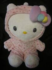 HELLO KITTY PLUSH TOY Kawaii Sanrio Nakajima Pink Pajamas Nightcap 2010 10""