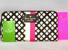 NWT Classic Kate Spade Pink Cream Neda Zip Around Checkbook Wallet Clutch Purse