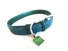 "Coach Dog Collar Teal Blue Sz M 13-1/2"" - 16-1/2"" Leather 3/4"" wide - Square Tag"