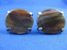 VINTAGE MENS STERLING SILVER STTIPED AGATE LARGE ROUND CUFFLINKS