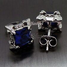 Fleur De Lis Sapphire Blue Cubic Zirconia 316L Stainless Steel Men Stud Earrings