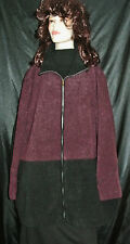 NWT CATHERINES BURGUNDY & BLACK FULLY LINED ZIP JACKET FAUX LEATHER 5X MSRP $184