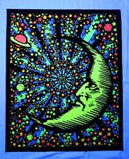 "Moon Stars Space Blacklight reactive UV tapestry // Fabric Poster // 23""x28"" //"