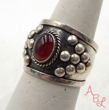 Sterling Silver Vintage 925 Etched Ball Wide Carnelian Ring Sz 8 (4.2g) - 553774