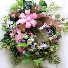 ~Mother's Day~SPRING WREATH~Birds Nest~Pink~Eggs~Bow~Flowers~Handmade Decoration