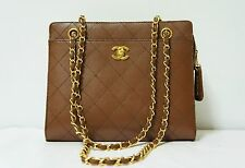 CHANEL Brown Caviar Leather Quilted Stitch Gold CC Shoulder Tote Bag! Mint! A140