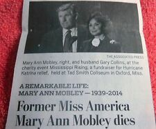 MARY ANN MOBLEY MINI OBITUARY FORMER MISS AMERICA APPEARED IN MOVIES TV