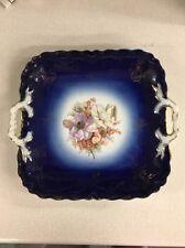 Vintage Cobalt Blue Bavaria Handled Square Floral Cake Plate Tray