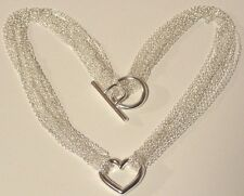 Multi-Strand Valentine Heart Pendant Necklace 925 Silver 18""