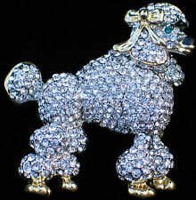 SILVER GOLD CLEAR RHINESTONE SHOW STANDARD POODLE DOG PUPPY PIN BROOCH JEWELRY