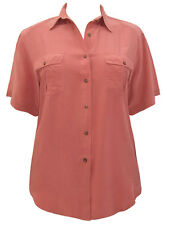 New-Dark Salmon Silk Shirt-Short Sleeves Button Front Twin Pockets Size 14/16