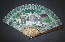 SUPERB ANTIQUE CHINESE GOLD SILVER LACQUER HAND PAINTED COURT SCENE BRISE FAN