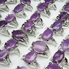 15pcs Wholesale Jewelry Lots Natural Amethyst stone Silver p Rings free shipping