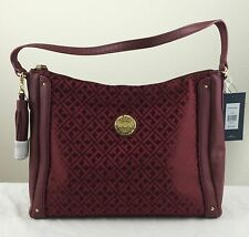 TOMMY HILFIGER Signature Jacquard Hobo Red Wine $79