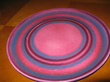 Baldelli Italy Midcentury Pottery Chop Plate Pink Blue Concentric Rings
