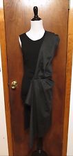 McQ Alexander Mcqueen Black Gray Rayon Wool Drape Front Shift Dress Sz M NWT