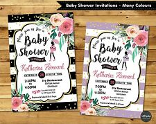 FLORAL BABY SHOWER PARTY INVITATION INVITE PERSONALISED GIRL BOY FLOWER GOLD