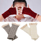 Women Fingerless Lace Gloves Soft Knitted Warm Long Mitten Wrist Warmer Winter
