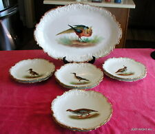 """Coiffe Limoges Hand painted (Game Birds) 18"""" PLATTER & EIGHT DINNER PLATES Exc"""