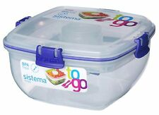 Sistema Klip It 37-Ounce Salad to Go Container, Clear, Lunch Box Dressing, New