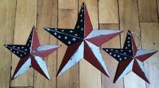 "(Set of 3) PATRIOTIC AMERICANA BARN STARS 12""/8"" PRIMITIVE RUSTIC DECOR"